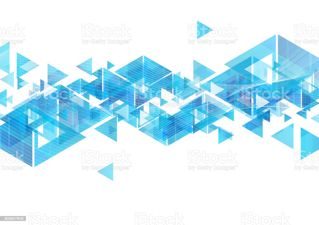 Line Art Solutions Ltd : Tech blue triangles and waves abstract background stock