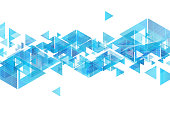 Tech blue triangles and wavy lines abstract background. Vector design