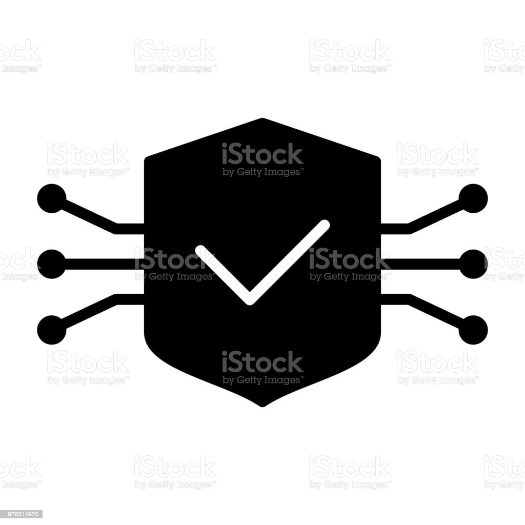 Tech Circuit Shield Icon Vector Simple Minimal 96x96 Pictogram Stock Microphone Royalty Free