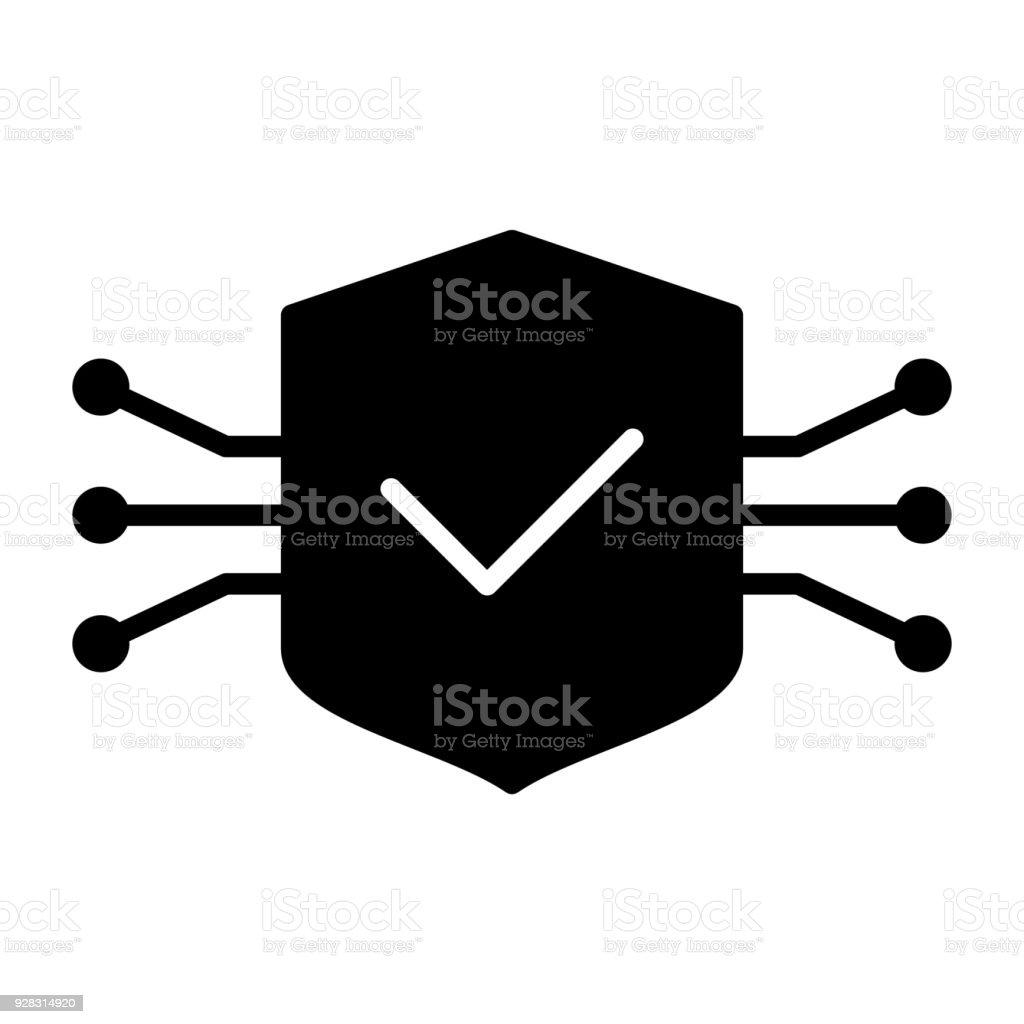 Circuito X : Ilustração de Ícone de escudo de circuito de tecnologia pictograma