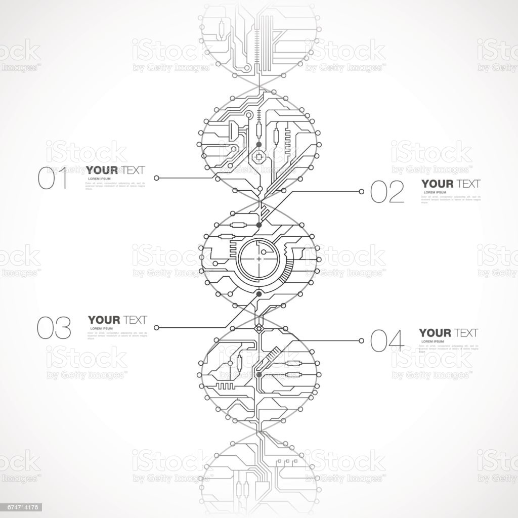 Tech DNA Design vector art illustration