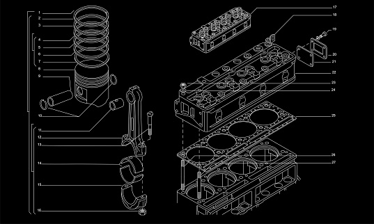 Tech drawing of gas engine