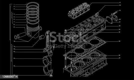 istock Tech drawing of gas engine 1268000714