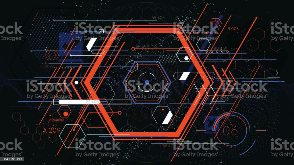 Tech futuristic abstract colorful hexahedron, hud vector geometric backgrounds vector art illustration