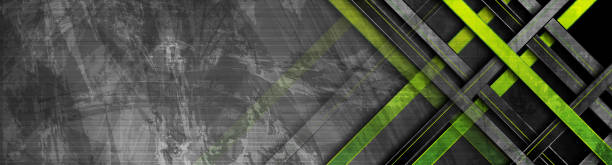 Tech green stripes on abstract grunge corporate banner vector art illustration