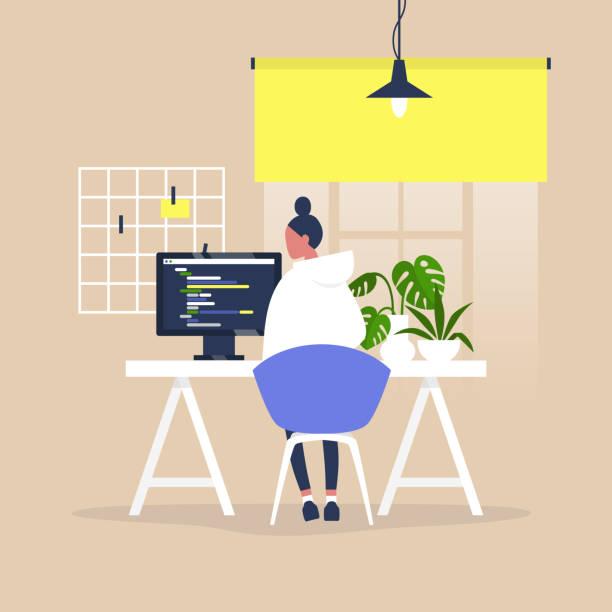 Technische industrie, jonge vrouwelijke mannelijke webontwikkelaar een code schrijven op een desktopcomputer in een modern kantoorvectorkunst illustratie