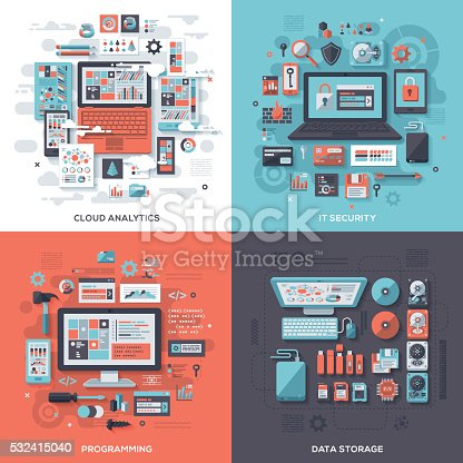 Concept illustrations with flat design-styled vectors themed on cloud analytics, IT security, programming and data storage. EPS 10 file, layered & grouped,