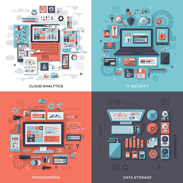 tech & it security flat design concepts - technology icons stock illustrations, clip art, cartoons, & icons