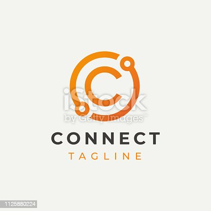 Tech Letter C Logotype Icon Design Template. Technology Abstract Line Connection Circle Vector Logotype. Simple creative template.