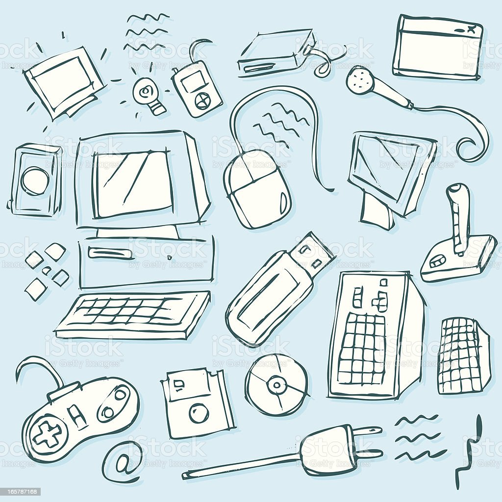 Tech scribbles royalty-free stock vector art