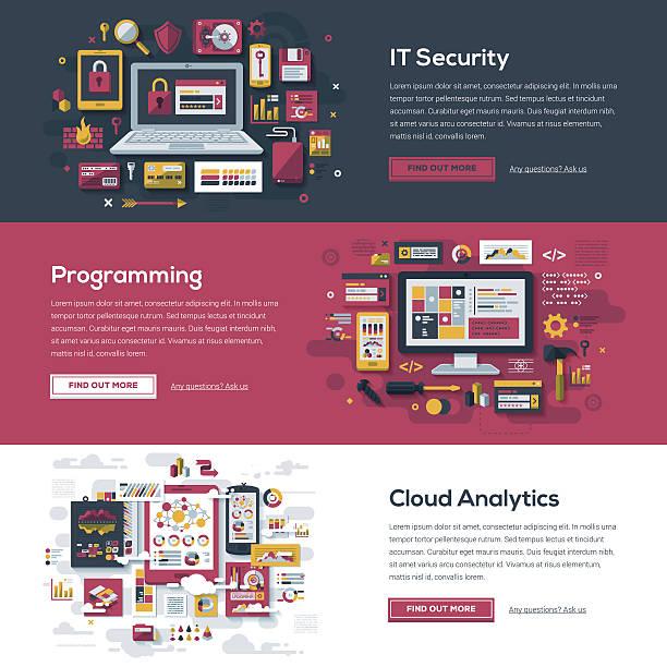tech services web banner set - website infographics stock illustrations, clip art, cartoons, & icons