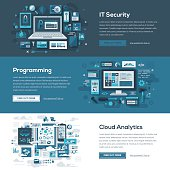 A set of web banners with flat design-styled vectors themed on IT security, programming and cloud analytics. EPS 10 file, layered & grouped,