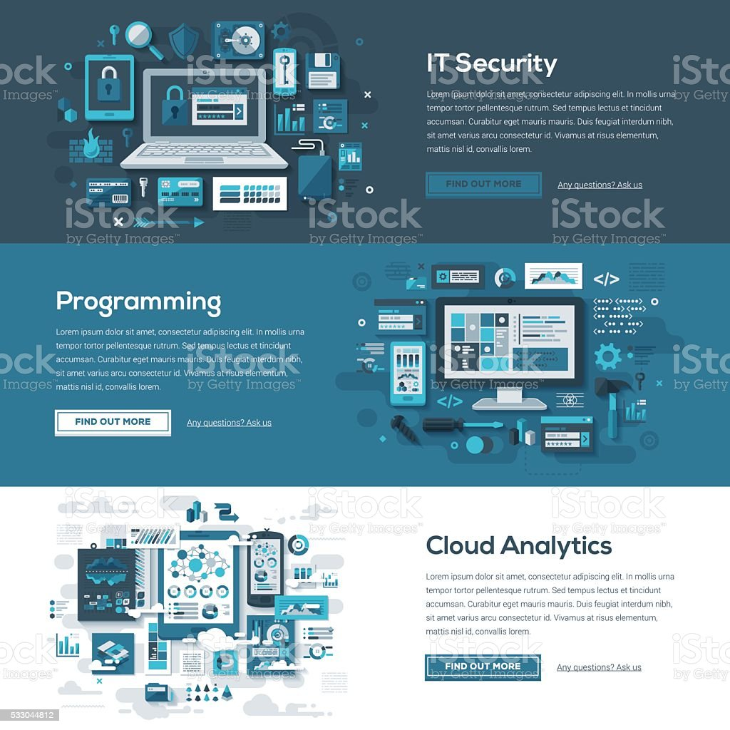 Tech Services Web Banner Set vector art illustration