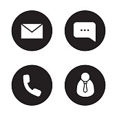 Tech support black icons set