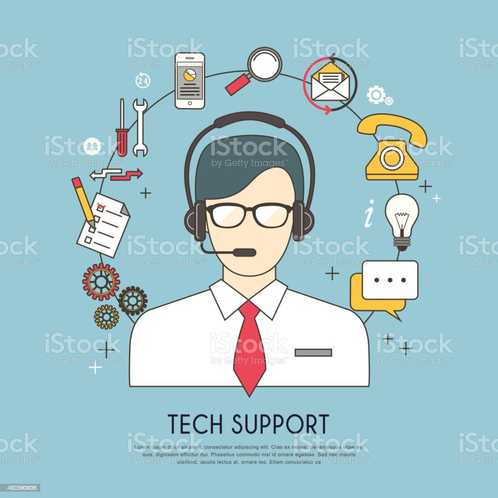 tech support concept vector art illustration