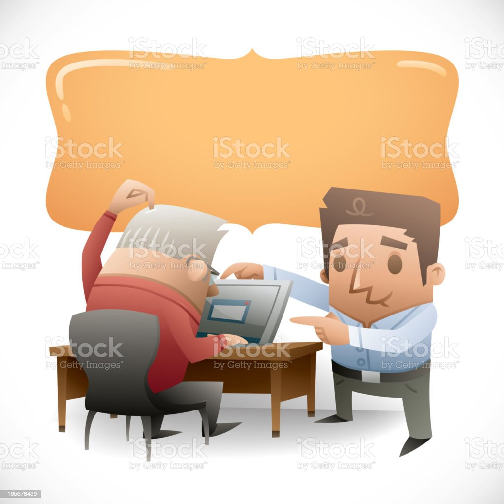 Tech Support - Man Helping Senior with Laptop vector art illustration