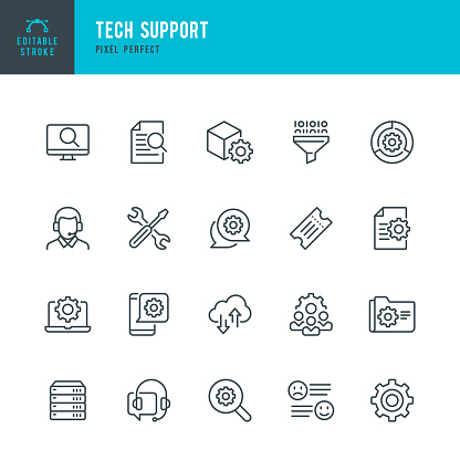 Tech Support - thin line vector icon set. 20 linear icon. Pixel perfect. Editable outline stroke. The set contains icons: Contact Us,  IT Support, Support, Ticket, Tech Team, Call Center, Work Tool.