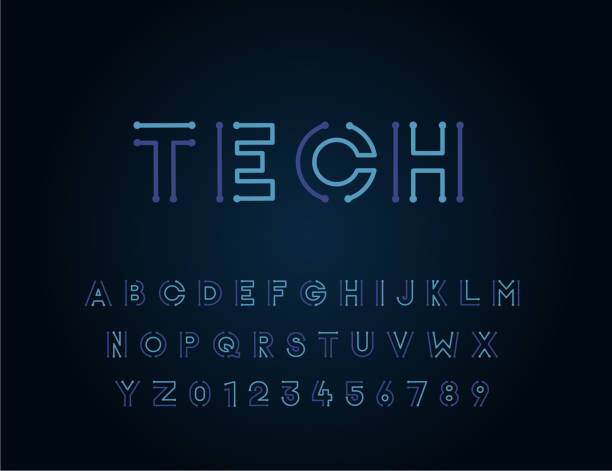 tech vector font typeface unique design. for technology, circuits, engineering, digital , gaming, sci-fi and science subjects. - futurystyczny stock illustrations