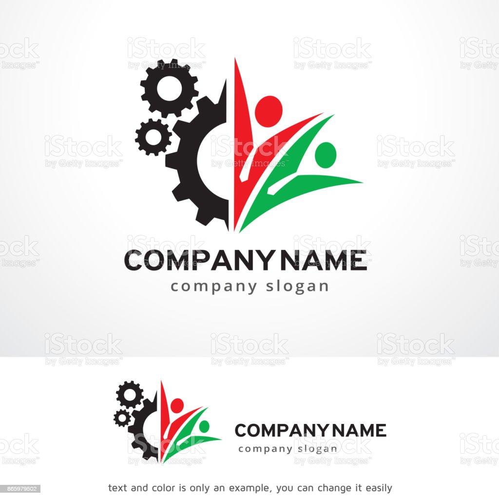 Trabajadores Técnicos Symbol Plantilla Diseño Vector Emblema ...