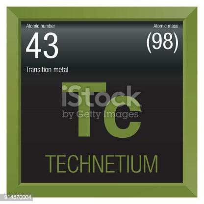 Technetium symbol element number 43 of the periodic table of the technetium symbol element number 43 of the periodic table of the elements chemistry green square frame with black background stock vector art more images urtaz Images