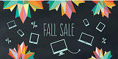 technic fall sale illustration on chalk board