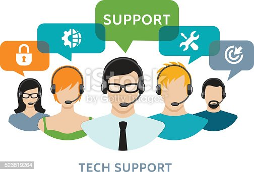 Vector illustration of the tech support concept.