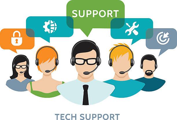 bildbanksillustrationer, clip art samt tecknat material och ikoner med technic support concept - it support