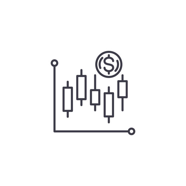 Technical analysis linear icon concept. Technical analysis line vector sign, symbol, illustration. Technical analysis line icon, vector illustration. Technical analysis linear concept sign. candlestick holder stock illustrations