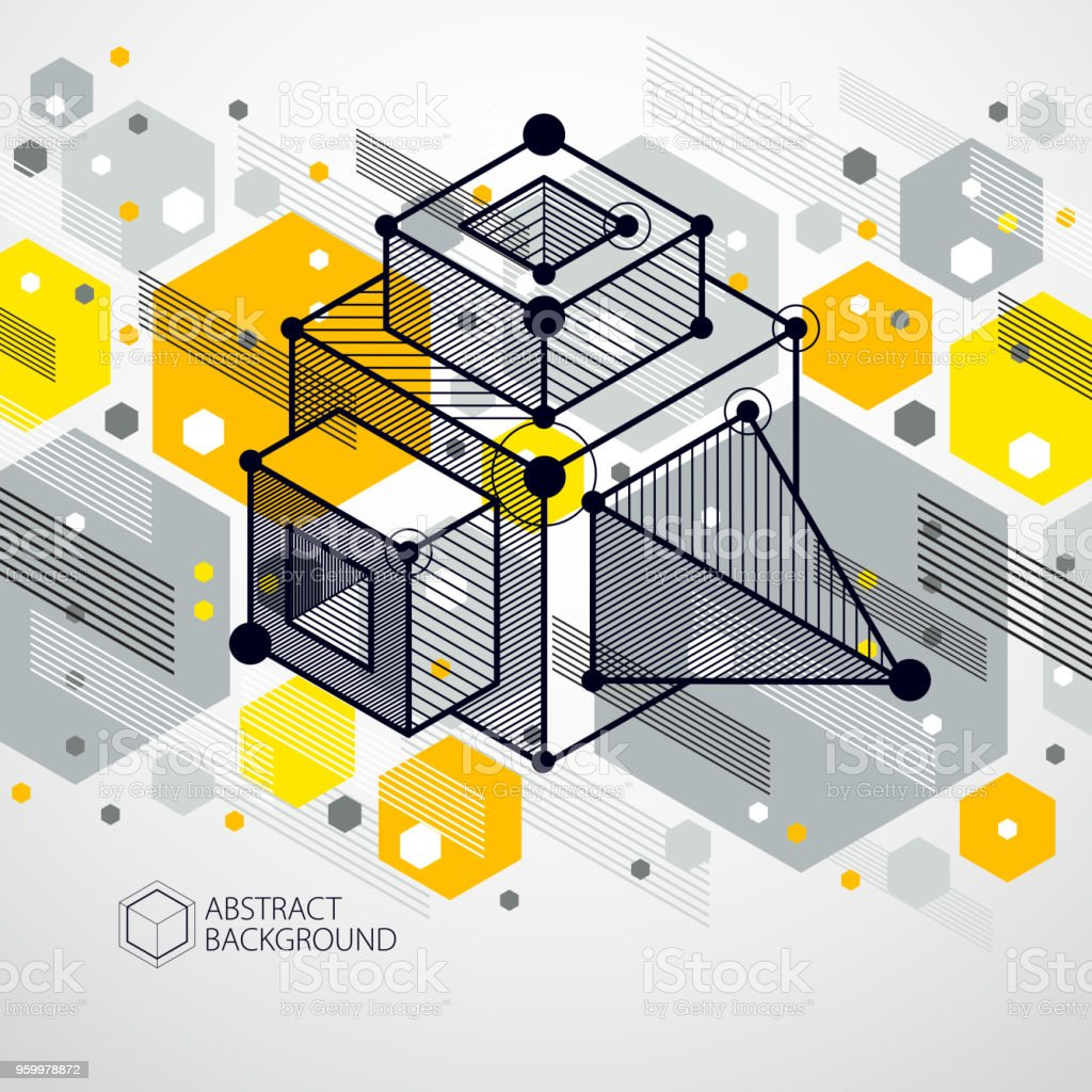 Technical Blueprint Vector Yellow Digital Background With Geometric ...