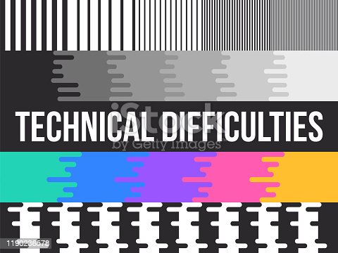 Technical difficulty TV test pattern with space for your copy.
