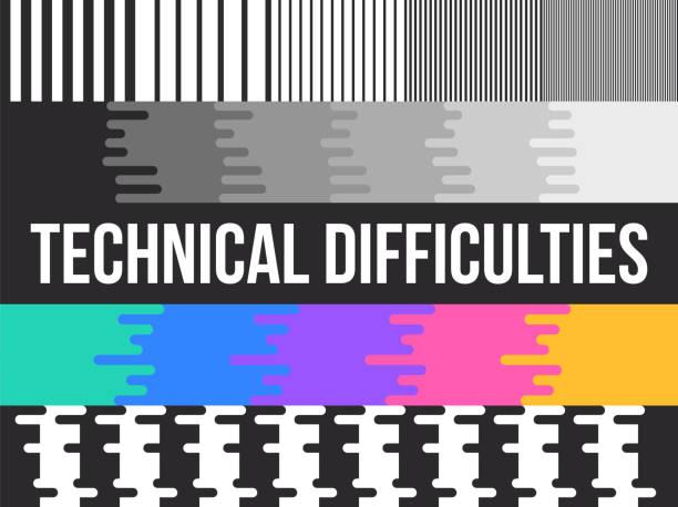 illustrazioni stock, clip art, cartoni animati e icone di tendenza di technical difficult tv test pattern - incertezza
