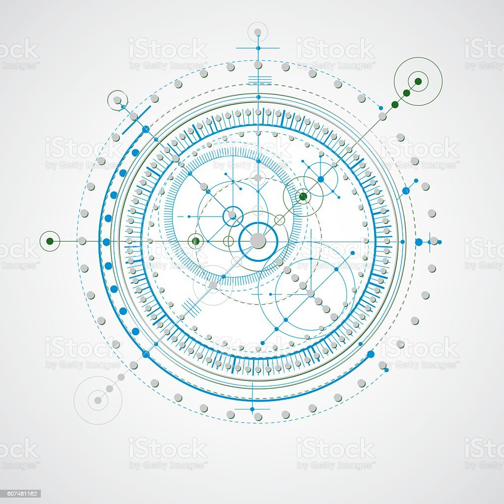 Technical drawing made using dashed lines and geometric circles. vector art illustration