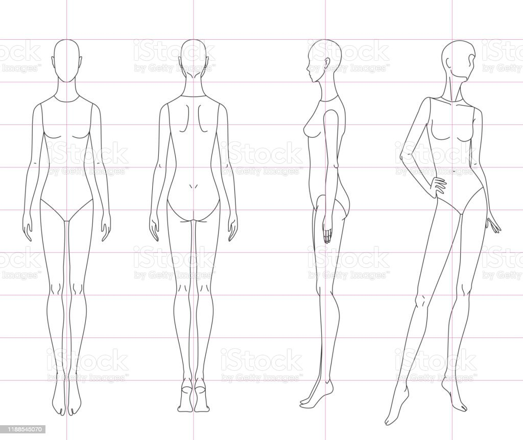 Technical drawing of woman\'s figure sketch. Vector thin line girl...
