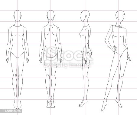 Technical drawing of woman's figure sketch. Vector thin line girl model template for fashion sketching. Woman's body. The position of the hand at the waist. 10 eps design and separate layers.