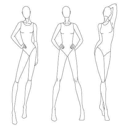 Technical drawing of woman's figure. Vector thin line girl model template for fashion sketching. Woman's body poses. The position of the hand at the waist and walking on runway. Separate layers.