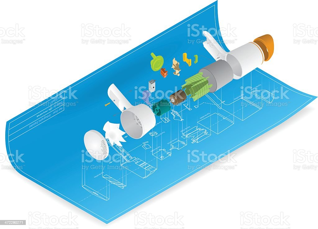 technical drawing vector art illustration
