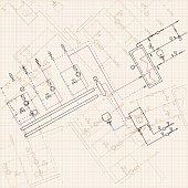 Blue Physische Formel Vektorillustration Mechanische Blueprint Der ...