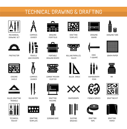 Technical & engineering drawing tools. Vector flat icon set. Architect drafting instrument. Isolated object