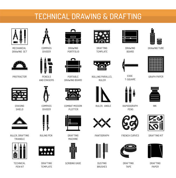 technical & engineering drawing tools. vector flat icon set. architect drafting instrument. isolated object - architecture clipart stock illustrations