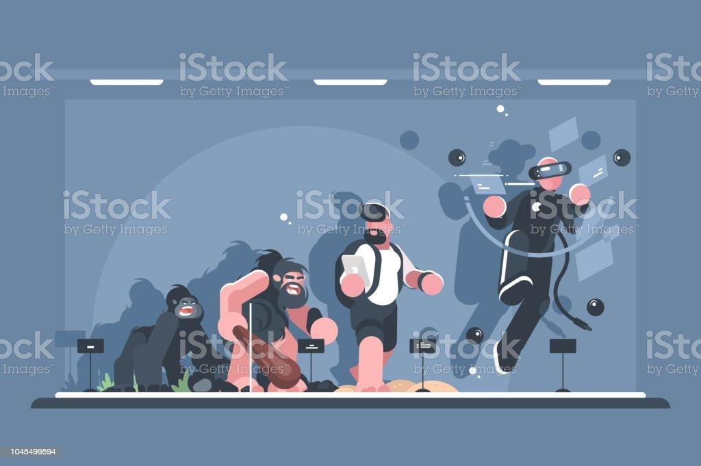 Technical evolution of man vector art illustration