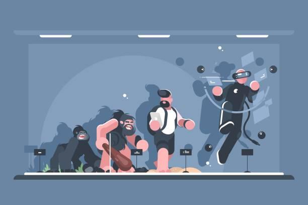 Evolución técnica del hombre - ilustración de arte vectorial