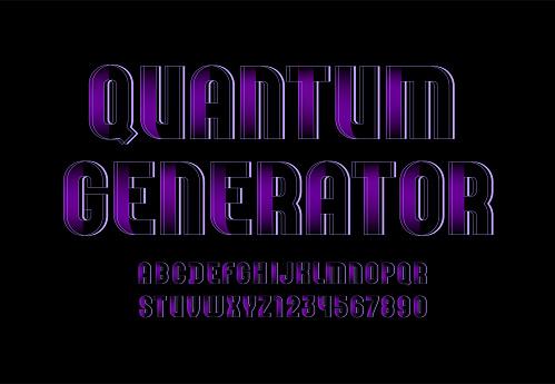 Technical font, digital alphabet, letters A, B, C, D, E, F, G, H, I, J, K, L, M, N, O, P, Q, R, S, T, U, V, W, X, Y, Z and numbers 0, 1, 2, 3, 4, 5, 6, 7, 8, 9, vector illustration 10EPS