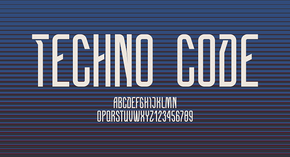 Technical high font, condensed alphabet, letters (A, B, C, D, E, F, G, H, I, J, K, L, M, N, O, P, Q, R, S, T, U, V, W, X, Y, Z) and numerals (0, 1, 2, 3, 4, 5, 6, 7, 8, 9), vector illustration 10EPS