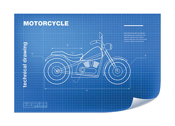 Royalty free motorcycle blueprint clip art vector images technical illustration with motorbike drawing on the blueprint vector art illustration malvernweather Gallery