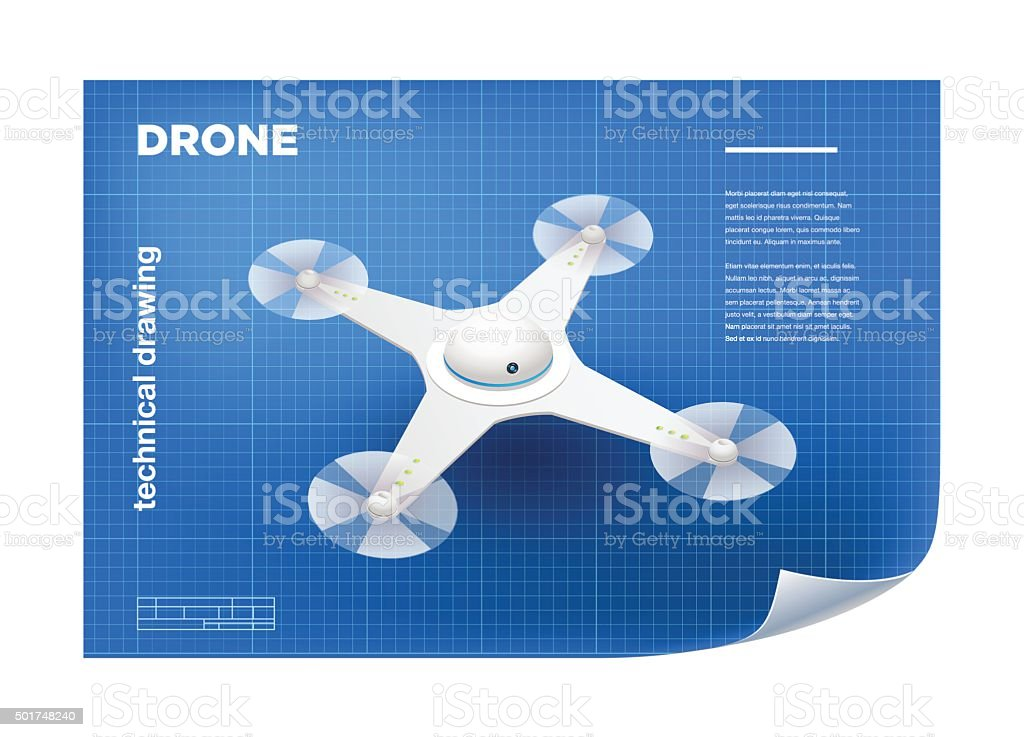 Technical Illustration with vector isometric white quadcopter vector art illustration
