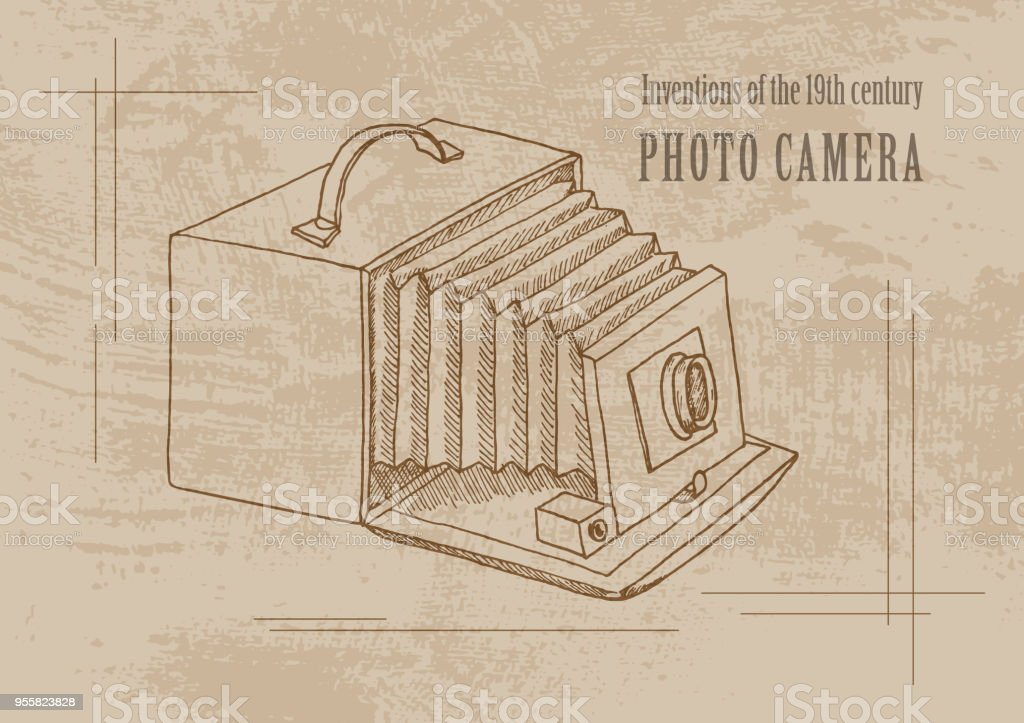 Grunge Camera Vector : Technical inventions of the 19th century photo camera poster in