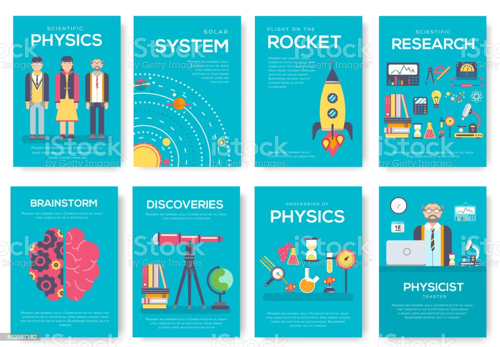 Technical minds brochure cards set. physics and mathematic template of flyer, magazine, poster, book cover, banners. workshop equipment invitation concept background. Layout illustrations modern page vector art illustration