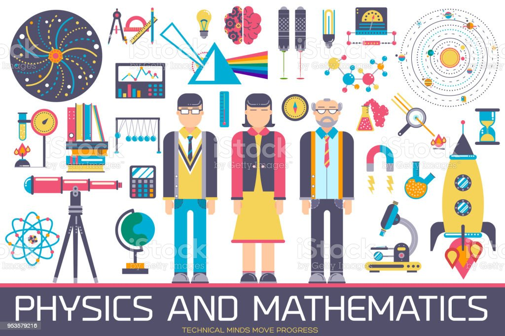Technical minds collection of icon set. Vector flat physics and mathematics equipment and workshop items concept design vector art illustration