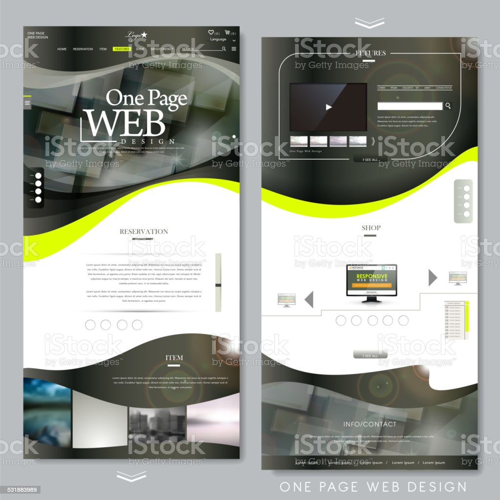 technical one page website template vector art illustration