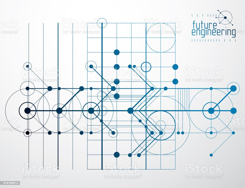 Technical Plan Abstract Engineering Draft For Use In Graphic And Web Networkdiagramdraft Design Vector Drawing